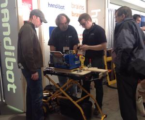Handibot Tool cutting custom molding for builders.