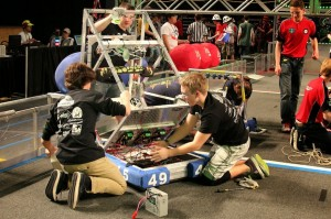 Team 4945 aka Team Titanium Wrecks readies their robot!