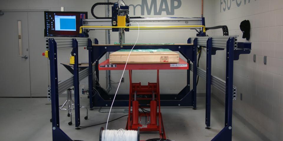 Large-bed 3D printer at Florida State University, based on ShopBot gantry tool