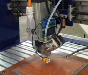 3D Printhead next to spindle on ShopBot Desktop CNC tool