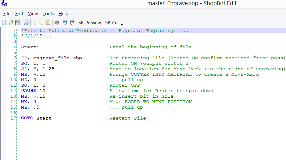 Example of the type file SBP file that can be used to repeatedly move material as in the video below