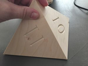 The triangles were cut at a precise angle to allow for assembly.