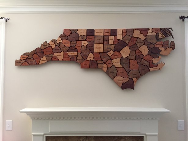 Wooden Map of North Carolina